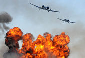 Two jetfighter attacking — Stockfoto