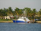Barca privata nel dock — Foto Stock