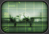 Old bomber on a tv screen — Stock Photo