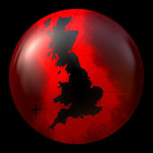 Red And Black Globe With Outline Of Great Britain — Stock Photo