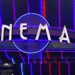 Retro cinema sign — Stock Photo