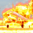 Plane on fire — Stock Photo