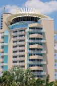Modern hotel building with revolving restaurant — Stock Photo