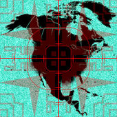 US map and target — Stock Photo