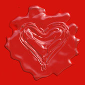 Red wax stamp heart — Stock Photo