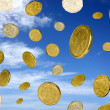 Royalty-Free Stock Photo: Coins sky blue