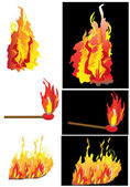 Fire samples — Stock Vector