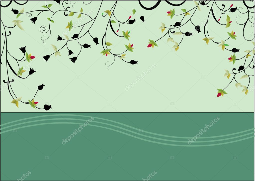 A romantic card with green background and swirls — Stock Vector #11720029