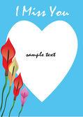 Coração e flor de arum — Vetor de Stock