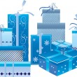 A set of blue gift boxes — Stock Vector