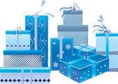 Un conjunto de cajas de regalo azul — Vector de stock