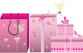 Pink shopping bags — Stock Vector