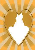 Couple in a heart — Stock Vector