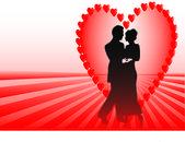 Cuori rossi coppia dissolvenza — Vettoriale Stock