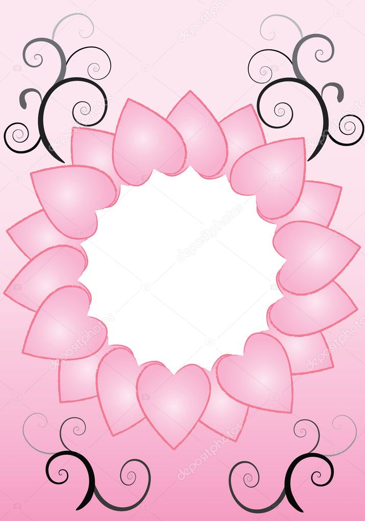 A circle of pink hearts with black and grey swirls — Imagen vectorial #11951606