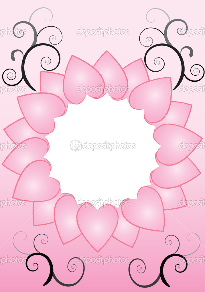 A circle of pink hearts with black and grey swirls — Image vectorielle #11951606