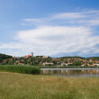 Tihany abbey with the inner lake and the villageTihany abbey wi — Stock Photo