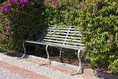 Bänk med blommande buske — Stockfoto