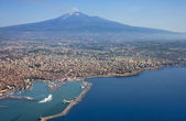 The Etna and Catania city - aerial view — Stock Photo