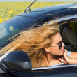 Female driver in car — Stock Photo