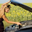 Woman checking her engine oil — Stock Photo