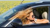 Female driver in car — Stock Photo