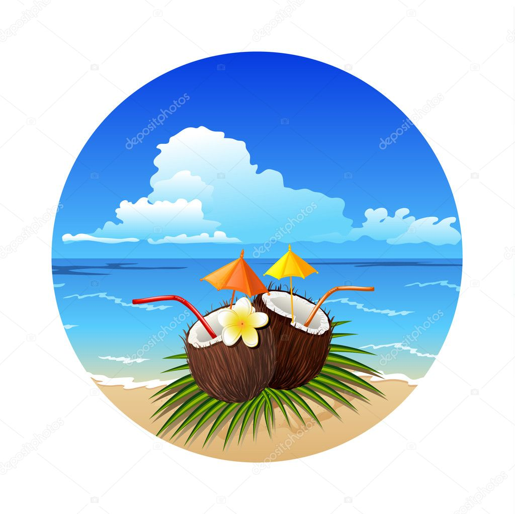 Tropic coconut cocktail on the beach  Stock Vector #11577148