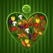 Vector vegetables in a heart — Stock Vector