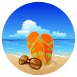 Vector de stock : Pair of flip flops and sunglasses on beach