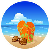 Pair of flip flops and sunglasses on the beach — Stockvector