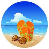 Par de chanclas y gafas de sol en la playa — Vector de stock