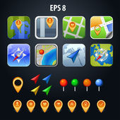 Vector illustration set of icons for apps GPS — Stock Vector