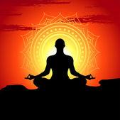 Vector ilustración de hombre de meditar y hacer yoga — Vector de stock