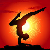 Vector illustration of yoga poses at sunset background — Stock Vector