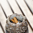 Stock Photo: Ashtray and cigarette ends