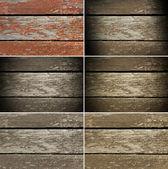 古い木材ボードと無愛想なペイントを設定します。 — ストック写真