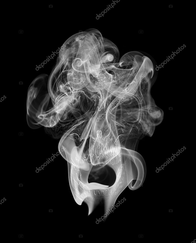 An illustration of a human skull appearing inside the smoke — Stock Photo #11943774