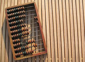 Abacus on wood table — Foto Stock