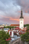 St. Nicholas church in Tallinn, Estonia at sunset — Stock Photo