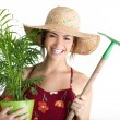 Portrait of gardening girl — Stock Photo