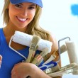 Girl and painting tools — Stock Photo #11739943