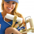 Girl and painting tools - Stock Photo