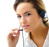 Young woman in customer service — Stock Photo