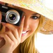 Blond girl portrait with camera — Stock Photo