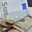 Money, dollars, euro — Stock Photo