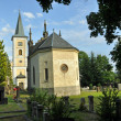 Stock Photo: Catholic Church with cemetery and mortuary