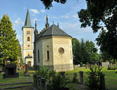 Catholic Church with cemetery and a mortuary — Stock Photo