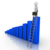 Businessman standing on top of chart with ladder — Stock Photo