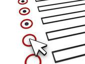Cumplimentación del formulario utilizando el puntero del ratón — Foto de Stock