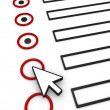 Completing form using mouse pointer - Stock Photo